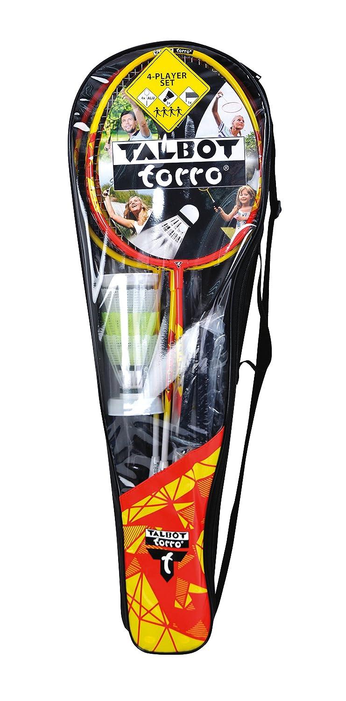 Talbot-Torro Premium Badminton-Set 4-Fighter Net Post Set 4 Alu-Rackets light and easy handling in carrybag,high quality Badminton- Set 3  Shuttles 449508