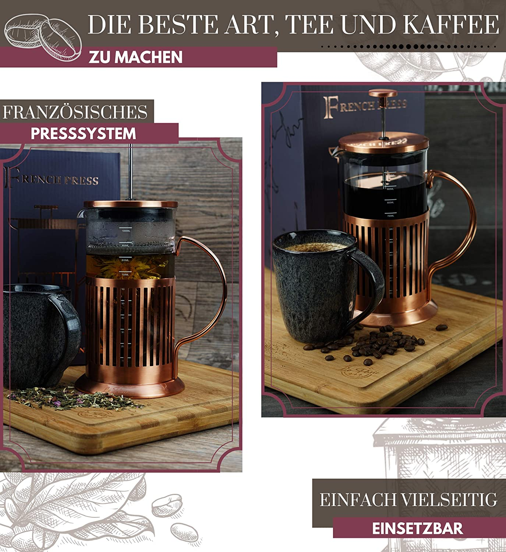 Le Flair/® French Press per 1 litro di caff/è Macchina per caff/è Macchina da caff/è con design in rame Caraffa per la preparazione del caff/è Caraffa per t/è in vetro rivestito in rame