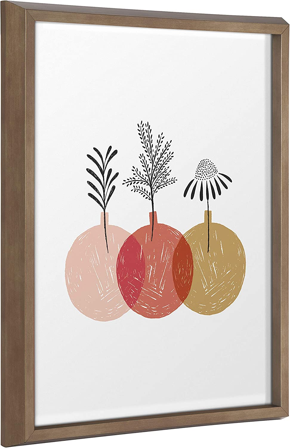 Kate and Laurel Blake Plant Trio Framed Printed Glass Wall Art by Duchess Plum, 16x20 Gold, Modern Floral Art for Wall