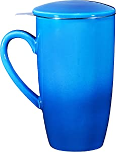 Bruntmor Ceramic Tea Infuser Mug With Stainless Steel Infuser And Removable Lid, Microwave Oven And Dishwasher Safe, Great For Use With Loose Tea Leaves And Sachets (16 oz, Gradient Blue)
