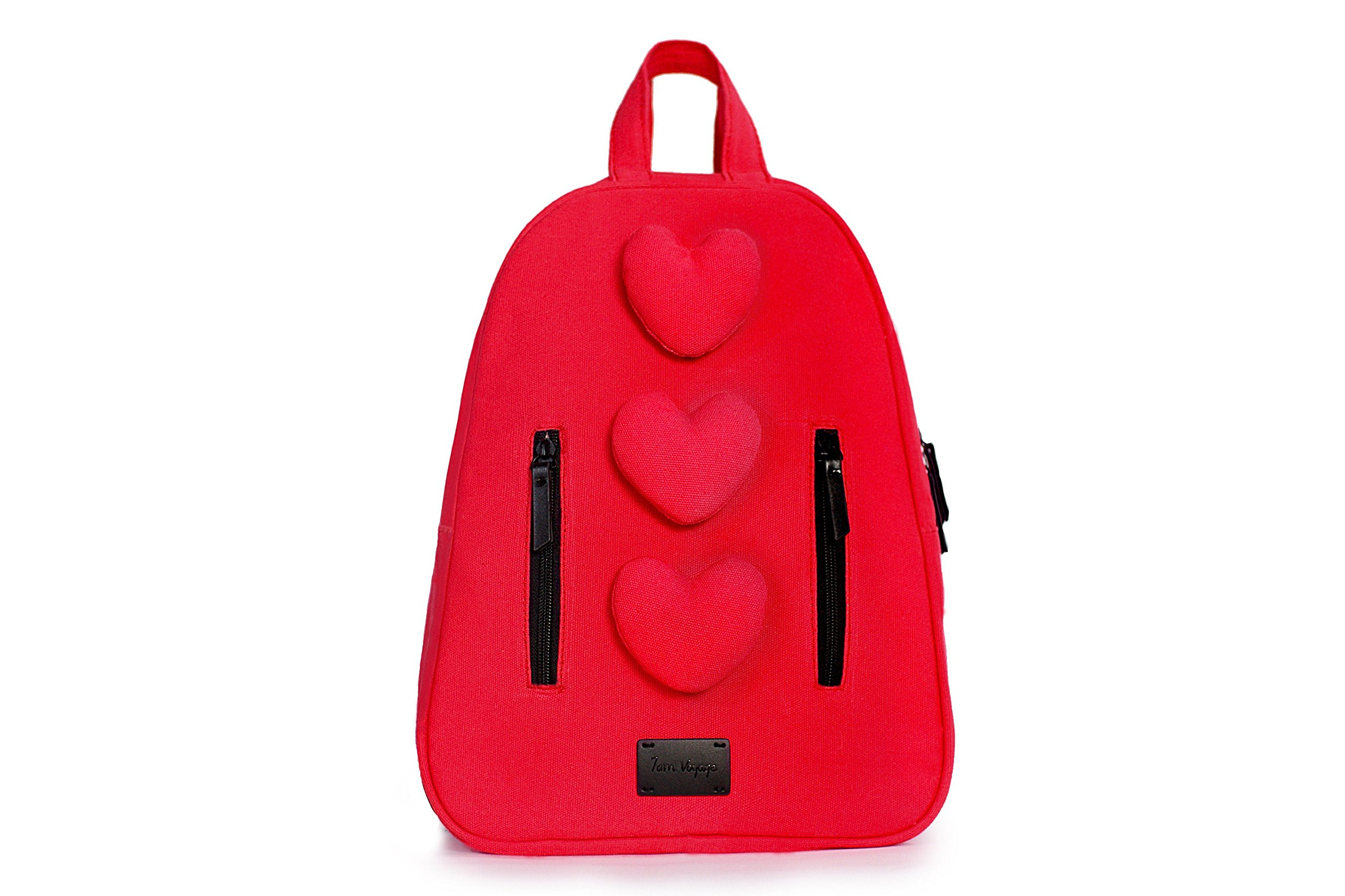 7AM Voyage Mini Hearts Cotton Backpack, Toddlers, Kids and Teens School Backpack, Machine Washable and Durable
