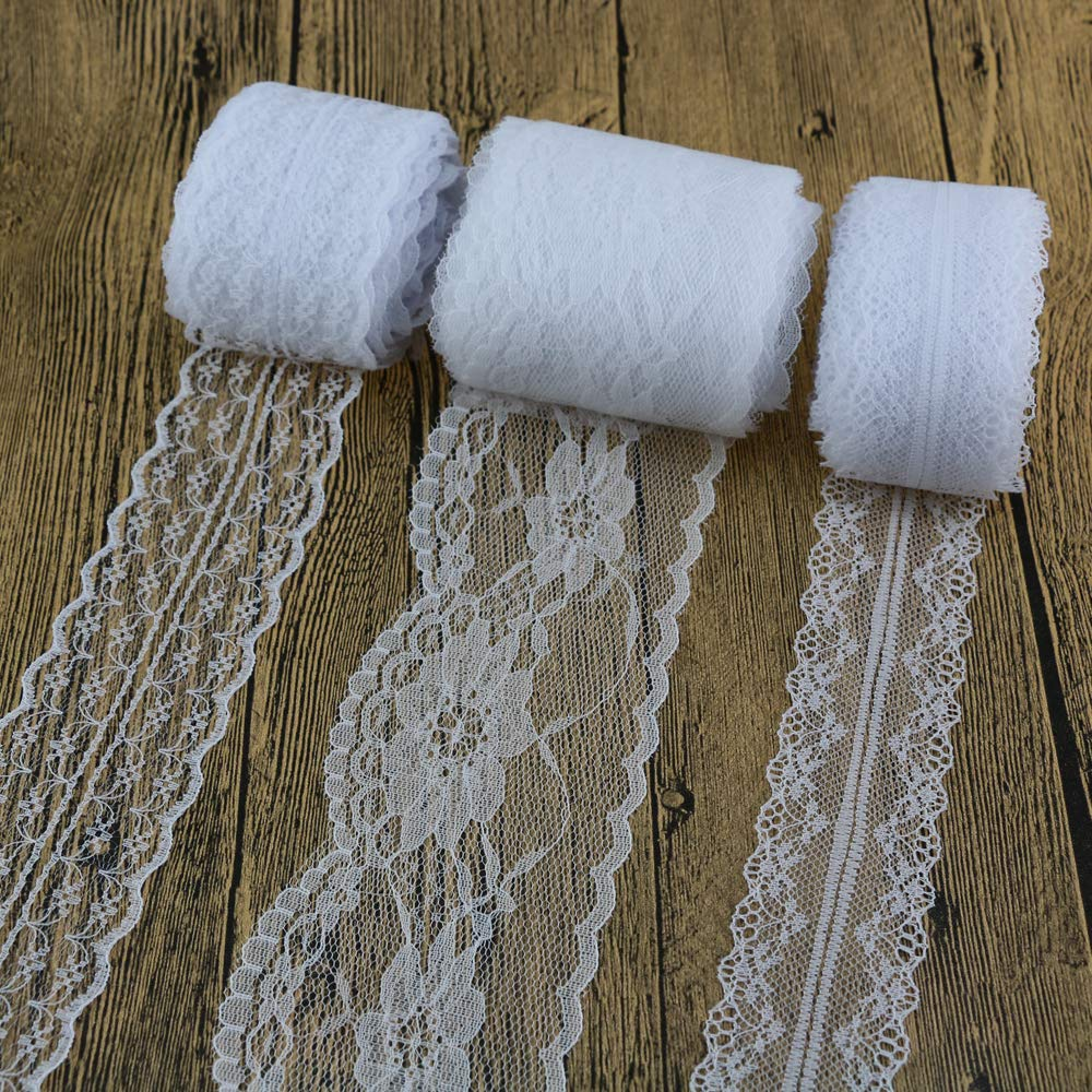 Lace Trim Ribbon 3 x 10 Yard Vintage Style White Lace Ribbon Trimming for DIY Craft Clothing Accessories and Rustic Wedding Bridal Decoration