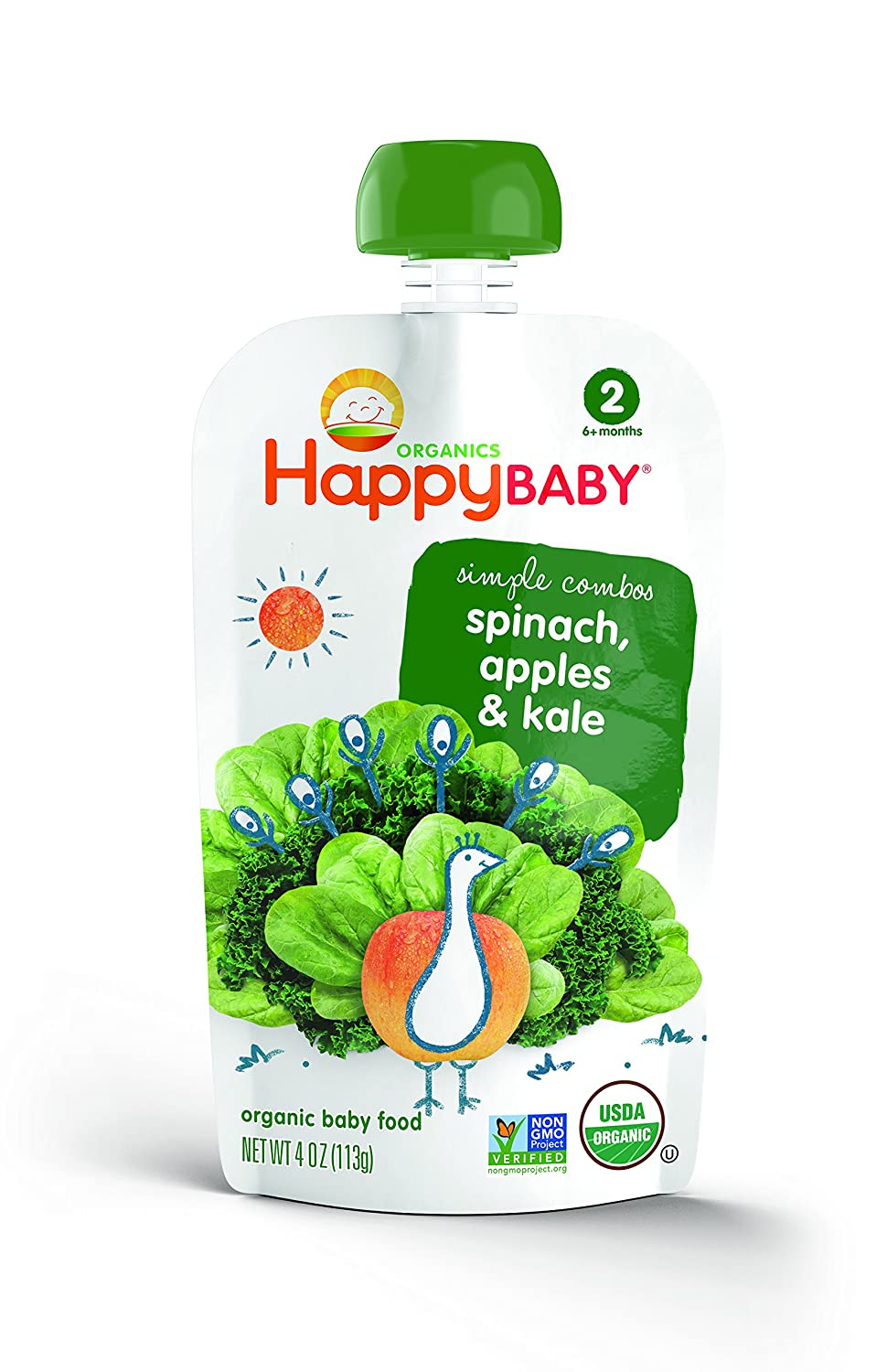 Happy Baby Organic Stage 2 Baby Food Simple Combos Spinach Apples