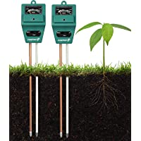Fosmon Soil pH Tester (2 Pack) - 3-in-1 Measure Soil pH Level, Moisture Content, Light Amount Soil Test Kit for Indoor Outdoor Plants, Flowers, Vegetable Gardens and Lawns