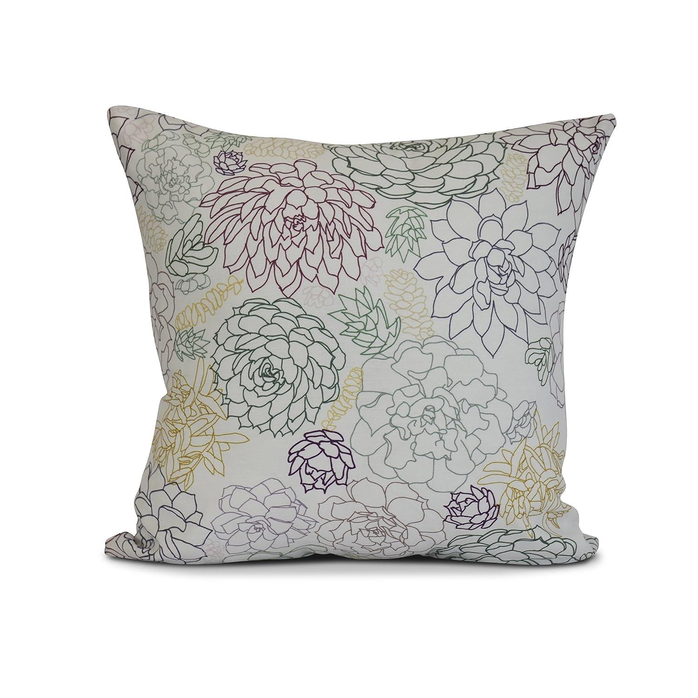 E by design Opal Floral Print Pillow 16 x 16 Purple