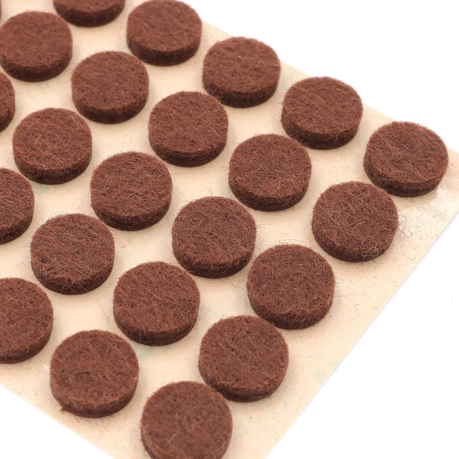 """Furniture Felt Pads 3/8"""" (10mm) Diameter Round 3M Self Adhesive Protects Kitchen Cabinets, Drawers, Desks and Furniture Against Bumps and Scratches 100 Pack - Mocha (Medium Brown)"""