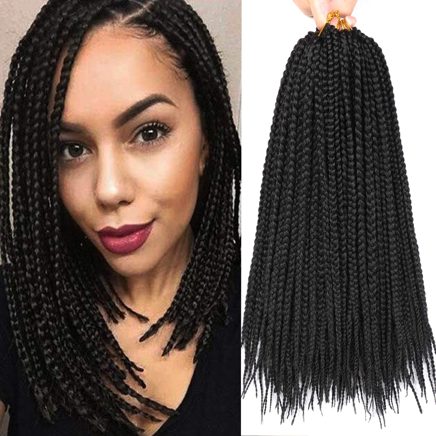 Buy 7 Packs 14 Inch Medium Box Braids Crochet Hair Extensions Synthetic Hair Crochet Braids Kanekalon Jumpo Braiding Hair 20 Strands Pack 14 Inch 1b Online At Low Prices In India Amazon In