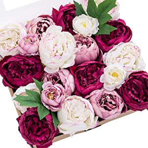Ling's moment Artificial Flowers Silk Peonies Silk Flowers w/Stem for Wedding Bouquets Centerpieces Party Home Decoration