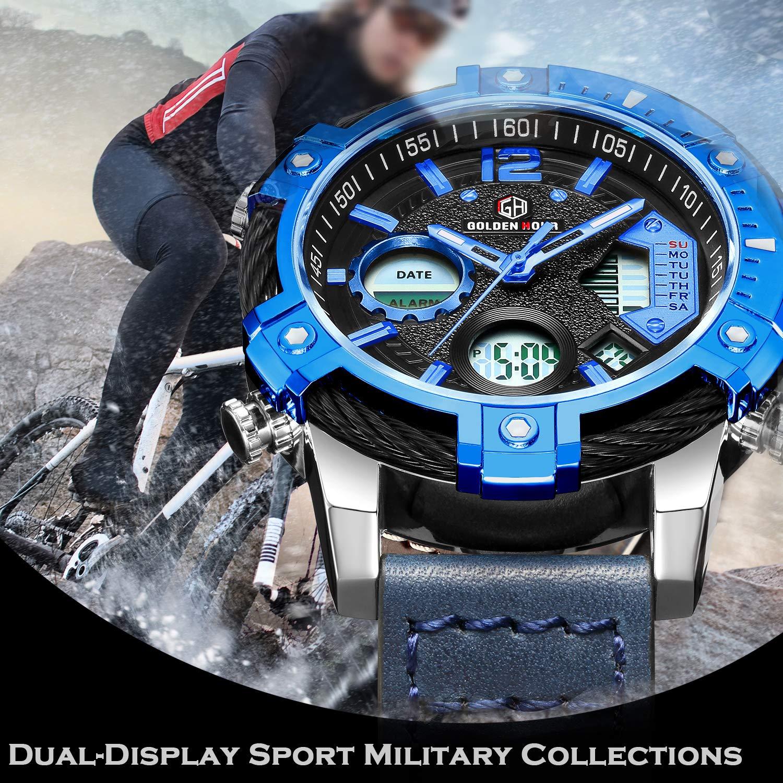 Relojes de Cuarzo Analš®gicos Digitales Deporte para Hombre para Hombres cronš®grafo Militar Reloj Impermeable (Blue-120): Amazon.es: Relojes