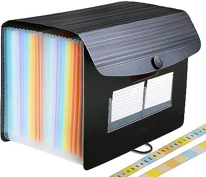Carpeta Clasificadora - ABClife Archivador acordeón 24 Bolsillos de gran Capacidad soporte Extensible portátil acordeón Clasificador Documentos, Archivador A4 para Office School (24 Bolsillos Tapa): Amazon.es: Oficina y papelería