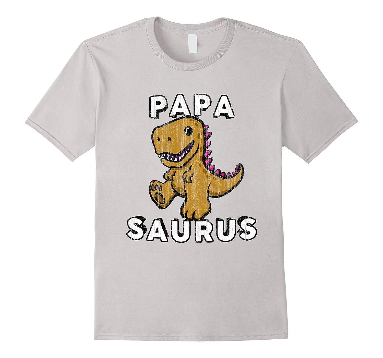Mens Papa Saurus Dinosaur T Shirt - Fun Dad Daddy Fathers Tee-TH