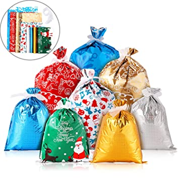 36 Piezas Bolsas de Regalo de Navidad Bolsas de Envolver Regalos Bolsas de Navidad de Goody con 40 Piezas Cintas para Favores de Fiesta de Vacación de ...