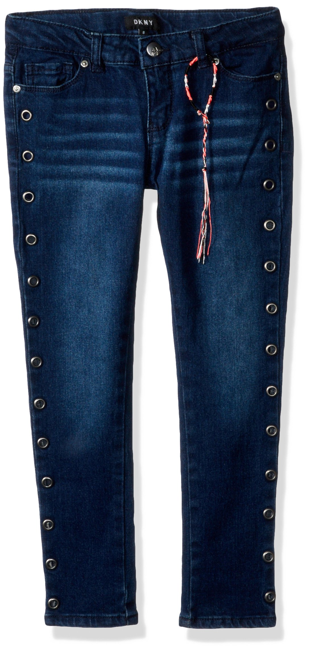DKNY Girls' Big' Jean, Grommets Midtown Indigo, 12