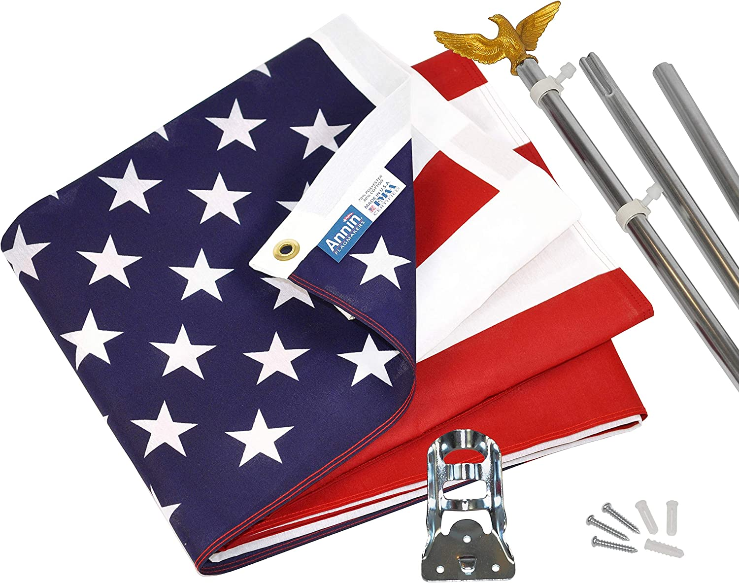 Annin Flagmakers Model 11325 American Flag and Flagpole Set – 6 ft. 3 Section Aluminum Pole with US Flag 3×5 ft, U.S. Flag Kit