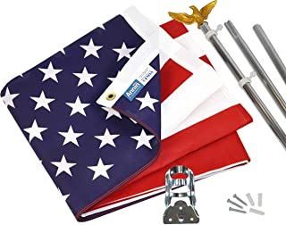 product image for Annin Flagmakers Model# 11325 American Flag and Flagpole Set - 6 ft. 3 Section Aluminum Pole with US Flag 3x5 ft, U.S. Flag Kit