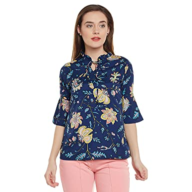 22e22e3a677b Ruhaan's Women's Navy Blue Color Floral Printed Crepe Top (AB_3547_XXL)