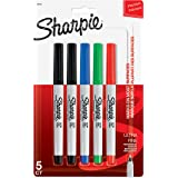 Sharpie Permanent Markers, Ultra Fine Point, Assorted Colors, 5 Count