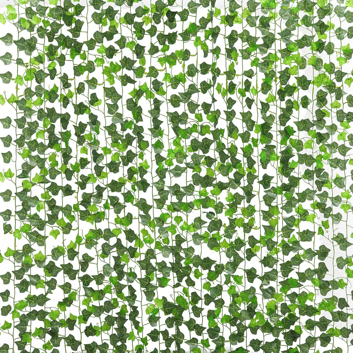 PARTY JOY 12 Strands Artificial Ivy Leaf Plants Vine Hanging Garland Fake Foliage Flowers Home Kitchen Garden Office Wedding Wall Decor, 84 Feet (100pcs Leaves Ivy Garland)