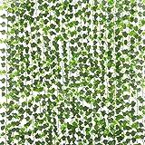 PARTY JOY 12 Strands Artificial Ivy Leaf Plants Vine Hanging Garland Fake Foliage Flowers Home Kitchen Garden Office…