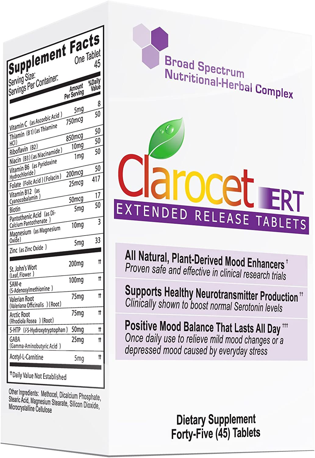 Clarocet ERT: Extended Release Tablets for mild to moderate mood changes, irritability and a depressed mood caused by everyday stress.
