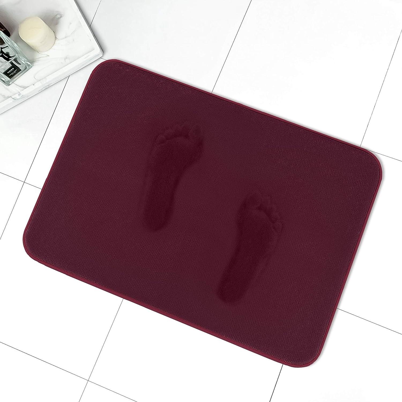 MAYSHINE Memory Foam Bathroom Rugs, Non-Slip Water Absorbent Luxury Soft Bathroom Rugs- 19x34 Inches, Burgundy
