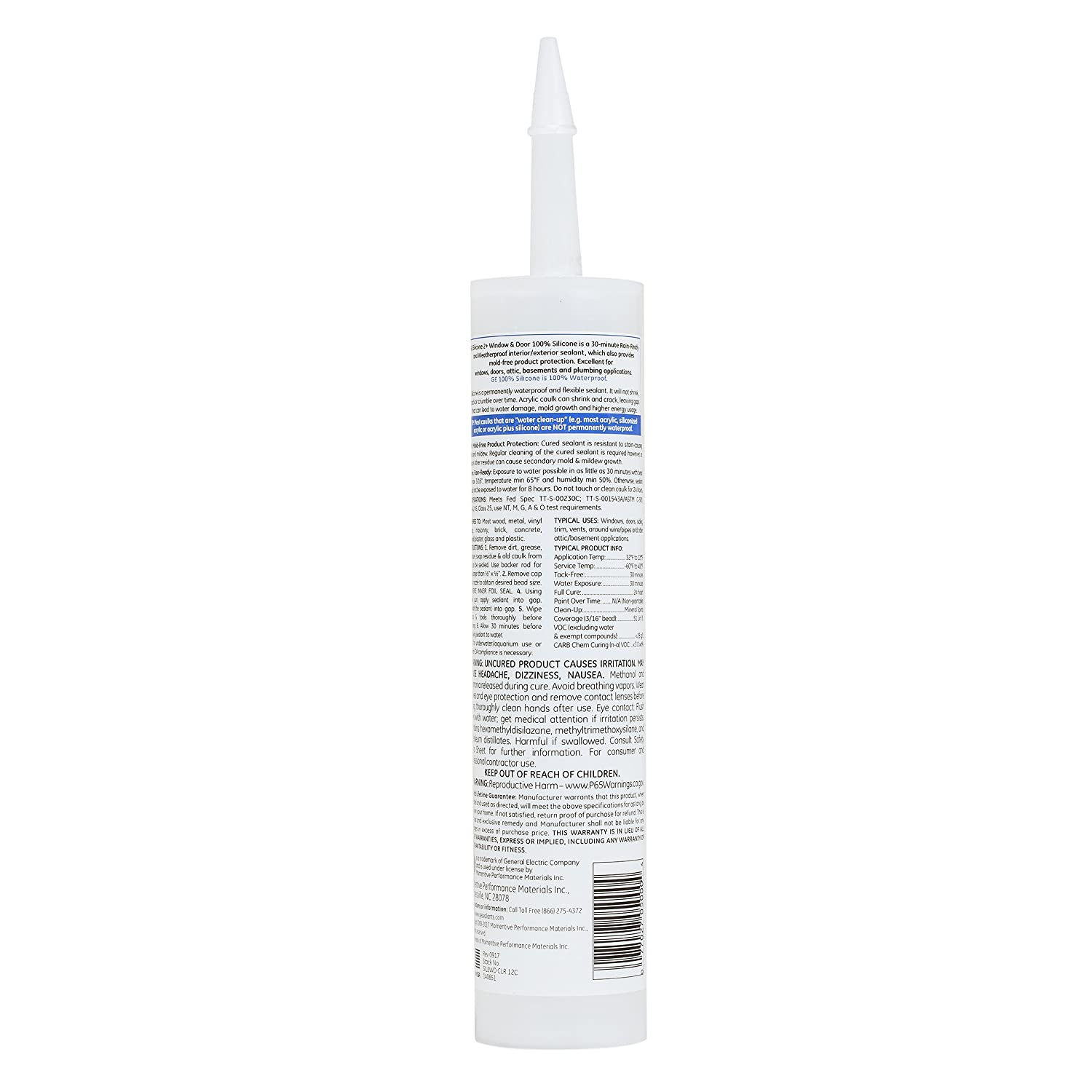 GE Momentive Performance Materials GE Silicone 2 Tube, GE5000 10 1 OZ,  Clear, Window & Door Caulk, 10 1oz