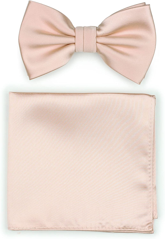 Bows-N-Ties Men's Solid Adjustable Pre-Tied Bow Tie and Pocket Square Set