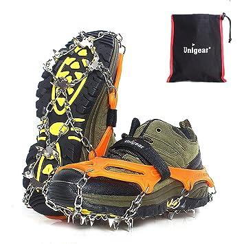 Unigear Steigeisen für Bergschuhe, mit 18 Zähnen, Schuhkrallen, Eisspikes,  Schneekette, Grödel 708f53c8e0