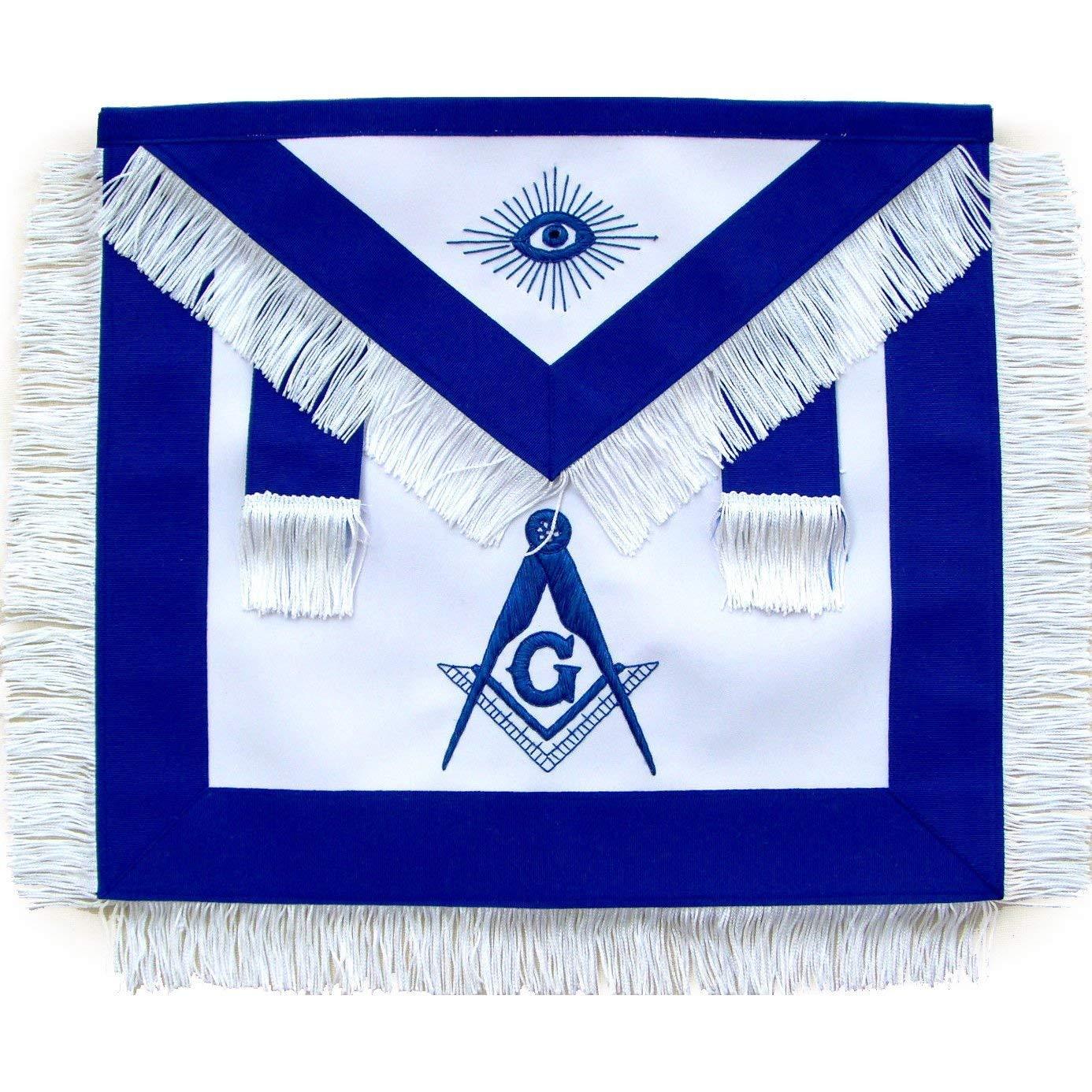 Bricks Masons Masonic Master Mason Apron with White Fringe-Lambskin by Bricks Masons