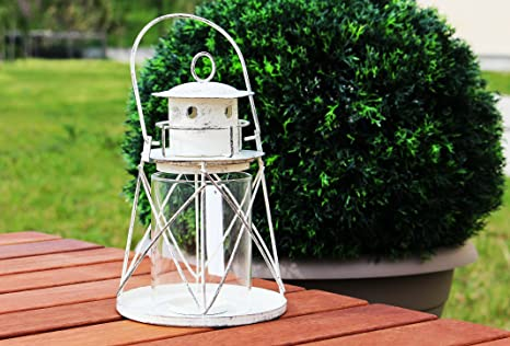 Portacandele Da Giardino : Lanterna portacandela faro con vetro decorazione casa giardino