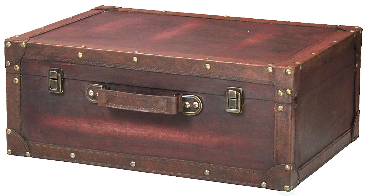 Vintage Style Brown Wooden Suitcase with Leather Trim Quickway Imports QI003235