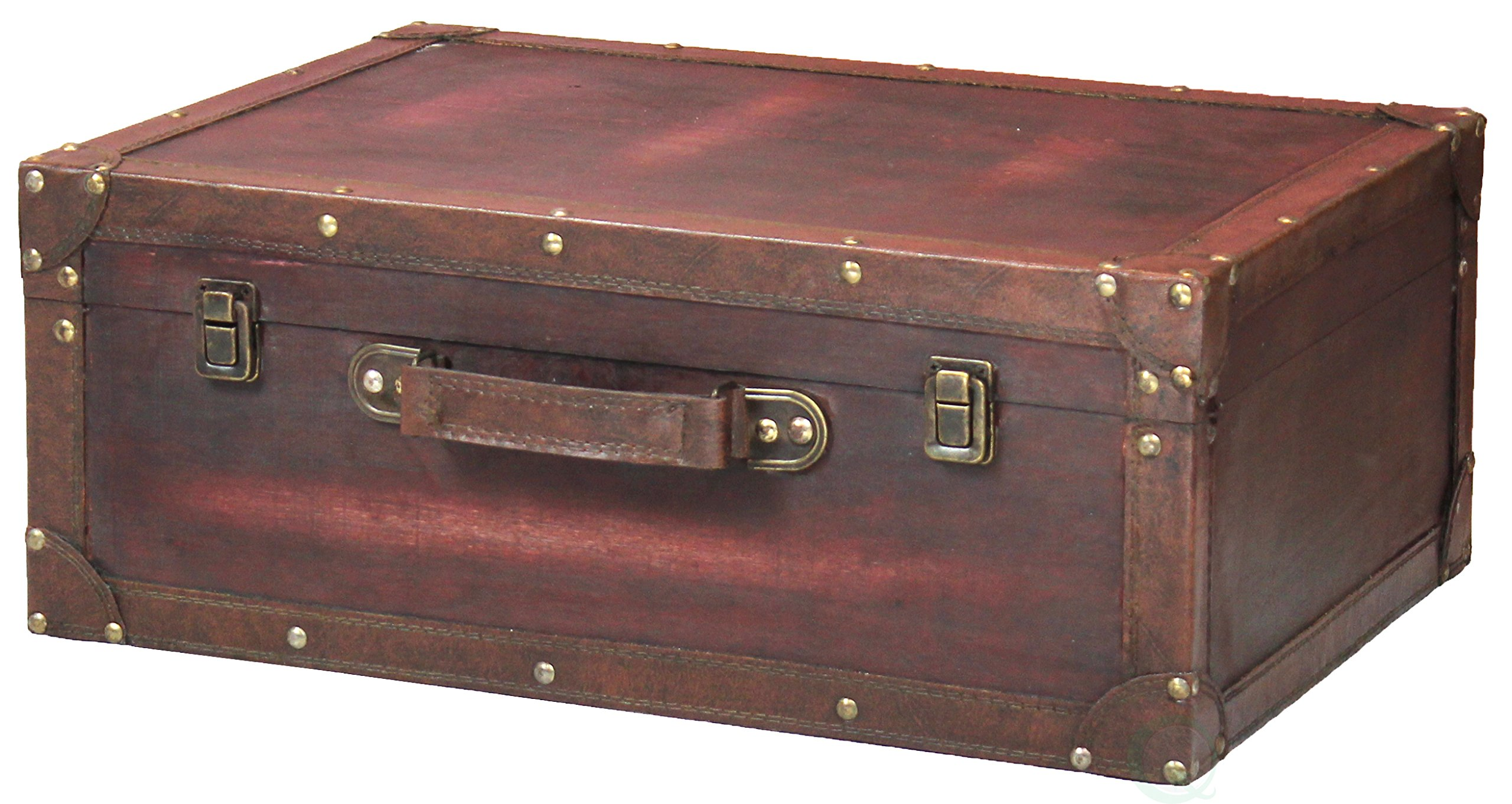 Vintage Style Brown Wooden Suitcase with Leather Trim by Vintiquewise