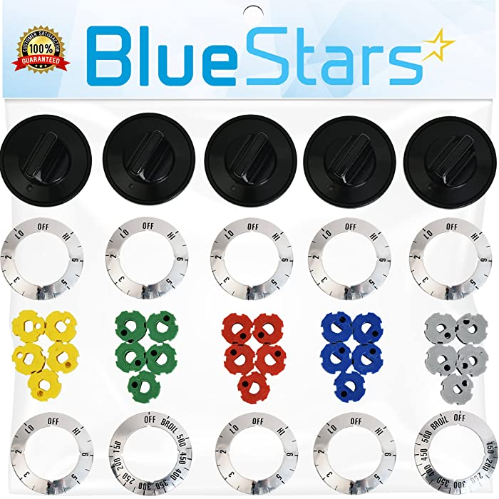 Ultra Durable KN002 RKE Universal Electric Range Knob Kit Replacement by Blue Stars - Exact Fit for Most Range/Oven Brand - Replaces AP5641247 MA-XP6 RK103