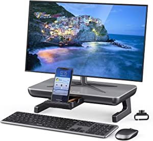 Monitor Stand Riser, Jelly Comb Adjustable Computer Stand with Storage Drawer, Phone Stand and Cable Management for Computer, Desktop, Laptop