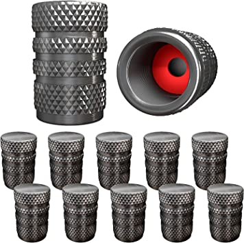 SUV Bike and Bicycle Trucks Silver 12 Packs Aluminum Tire Valve Caps with O Rubber Ring Hexagon Valve Stem Cover for Cars Motorcycles