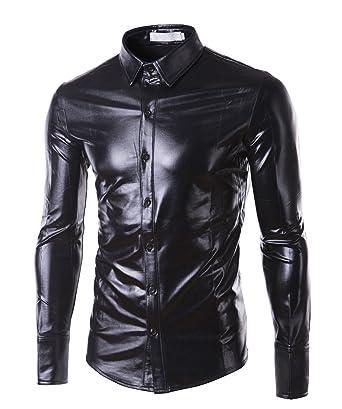 Mens Trend Nightclub Styles Metallic Black Button Down Shirts Black Medium