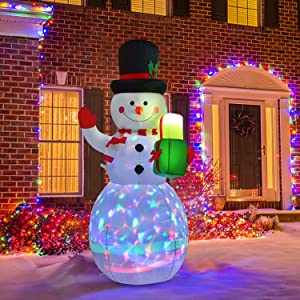 DearHouse 5 FT Inflatable Christmas Snowman with Gift Bag, Rotating Led Lights Xmas Holiday Blow Up Family Party Decoration Yard Lawn Favors Indoor Outdoor Inflatables