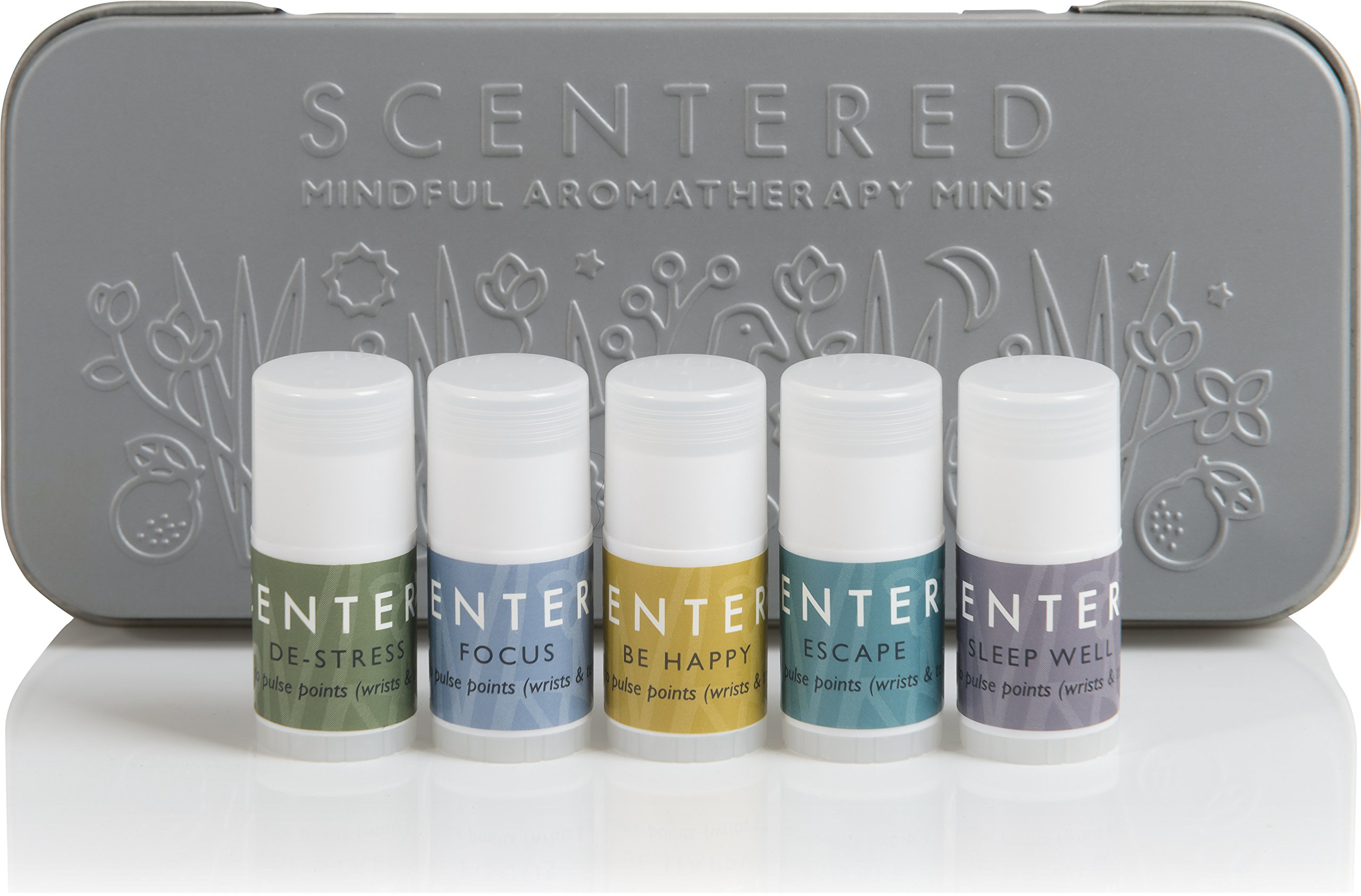 Scentered Portable Aromatherapy Balms Gift Set | Pocket Size | Sleep Well, Love, De Stress, Be Happy, Escape | Set of 5 Wellbeing Ritual Mindful Minis by Scentered