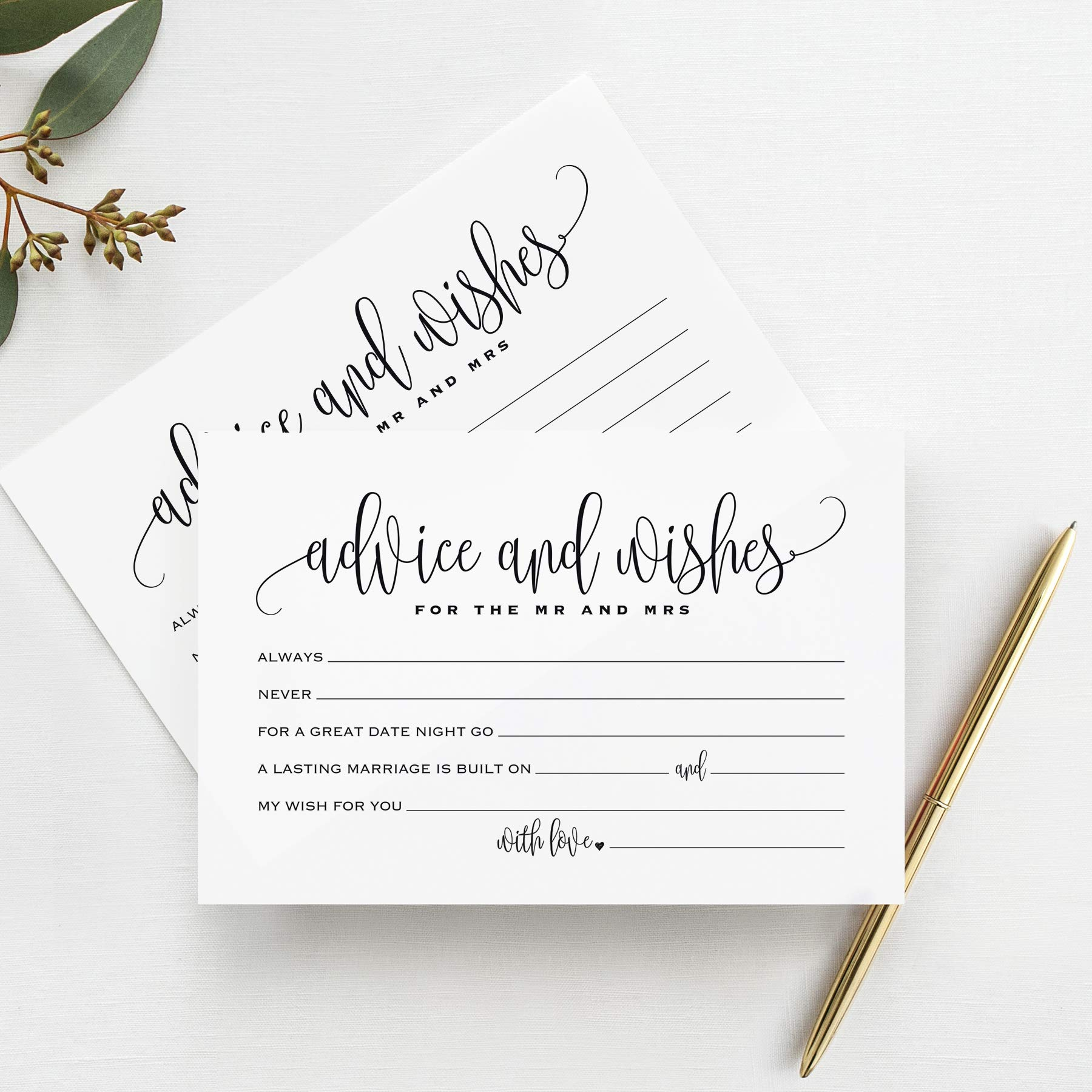 Mad Libs advice and wishes cards for the new Mr and Mrs, Bride and Groom, Newlyweds -Perfect addition to your wedding reception decorations or bridal shower - 4x6 cards (Pack of 50)