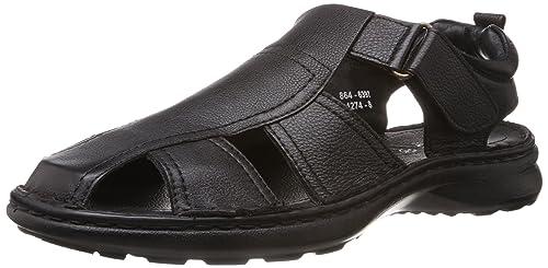 fc0bd1e8e627 Image Unavailable. Image not available for. Colour  BATA Men s Comfit Black  Leather Athletic   Outdoor Sandals ...