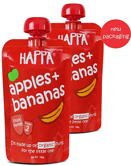 6894066c65b38 Happa Organic Apple and Banana Puree Baby Food for 6 Months+, Stage-2, 2 x  100g