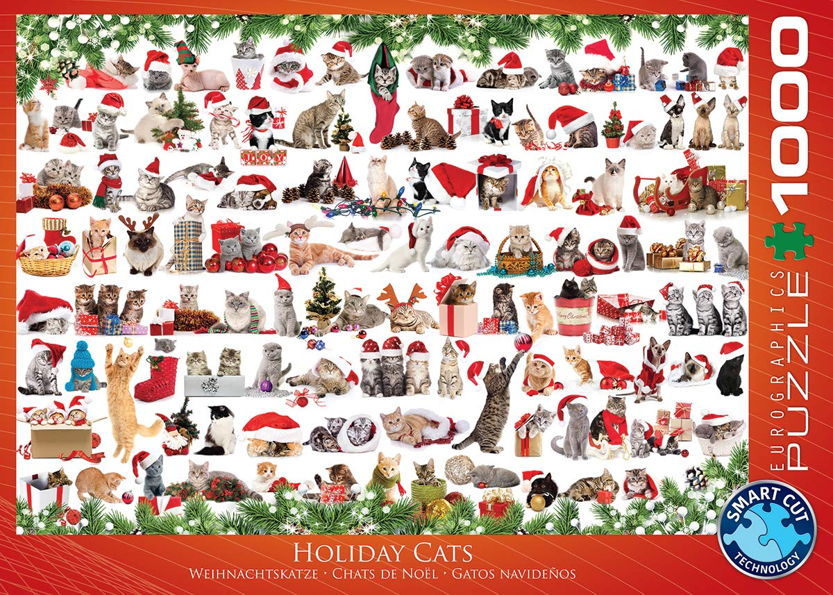 Amazon.com: EuroGraphics Christmas Kittens Puzzle (1000 Pieces): Toys & Games