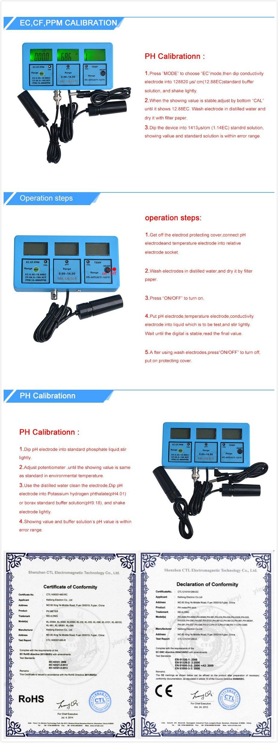 5 in 1 Water Testing Meter Multi-Parameter Water Quality Monitor Water Quality Analysis Device PH-117 by YARUIFANSEN