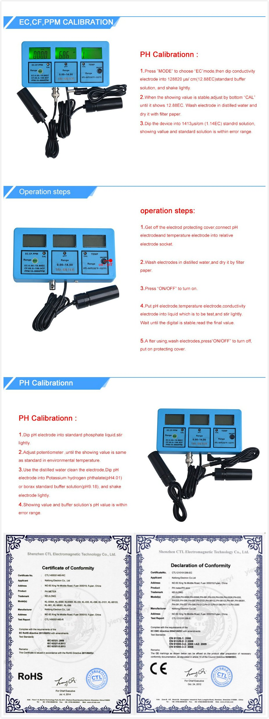 5 in 1 Water Testing Meter Multi-Parameter Water Quality Monitor Water Quality Analysis Device PH-117