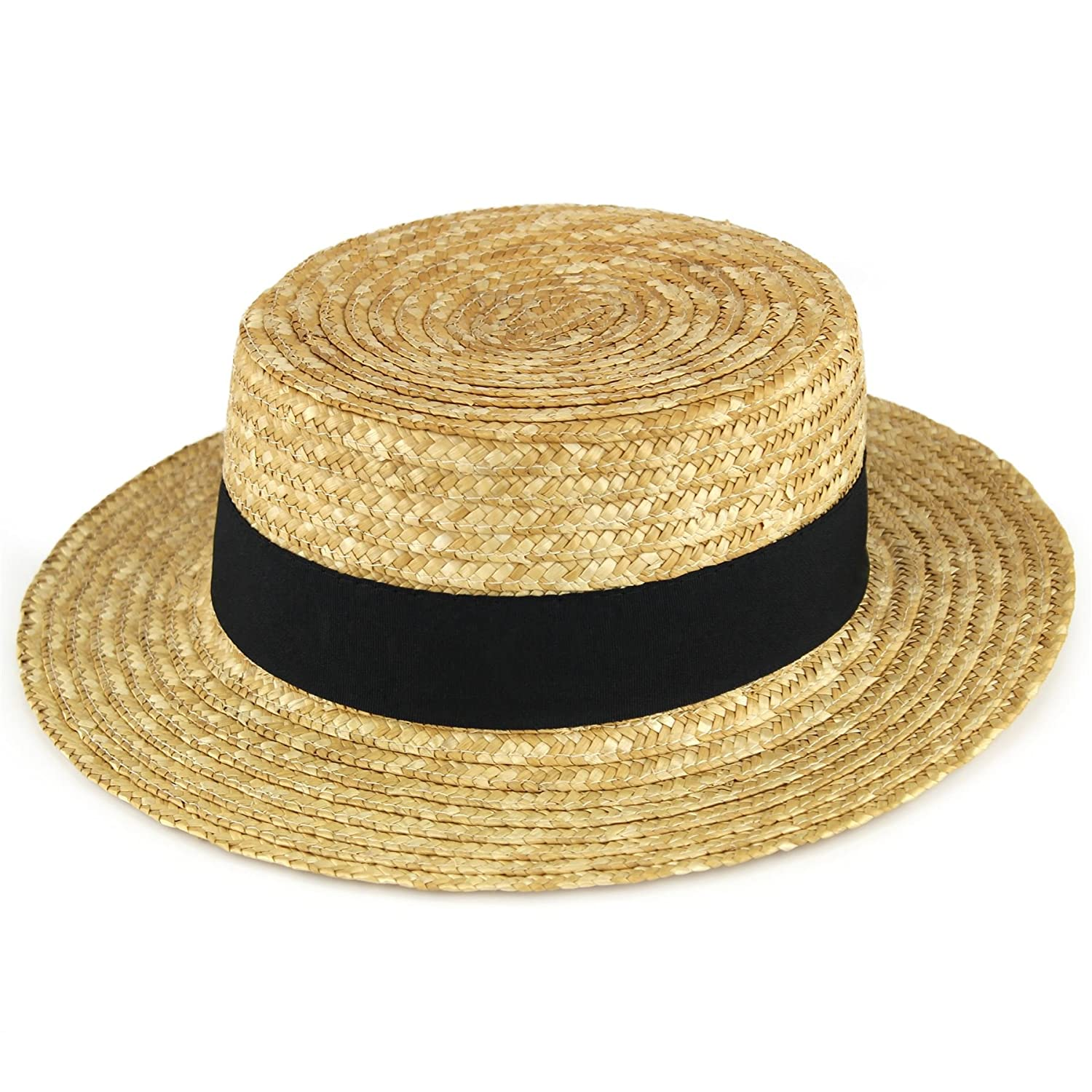1cf2f0bfa50 Hawkins Straw boater hat sailor skimmer black band summer sun   Amazon.co.uk  Clothing