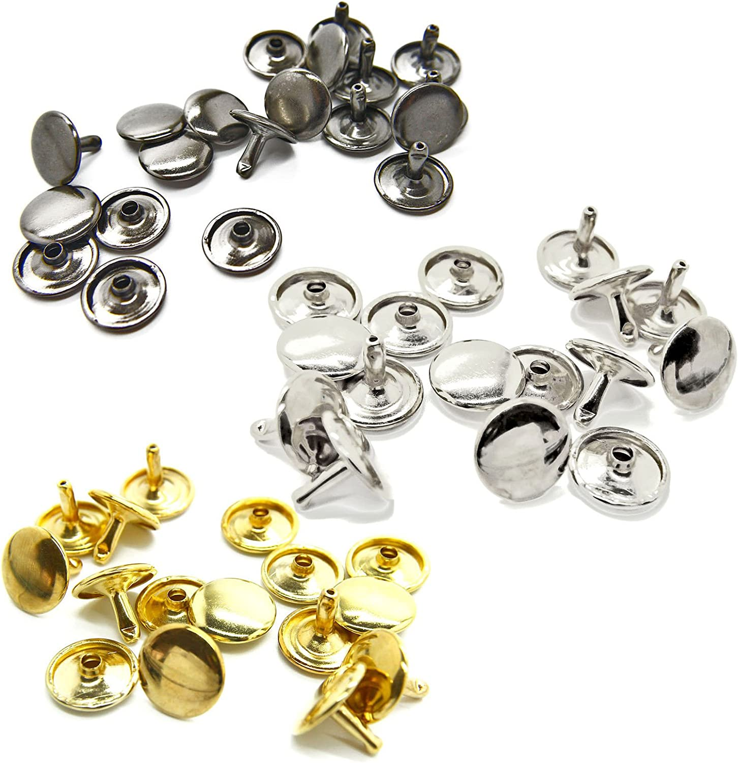 Wedding Decor 100pcs x 12mm Silver Double Cap Rivets Two Piece for Leather Crafts Clothing Fabric Repair Work