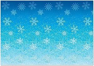 Beistle 20207 Snowflakes Backdrop, 4' x 30', Blue/White
