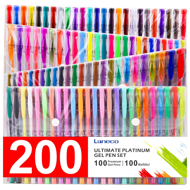 Laneco Medium-Point (0.8 mm), Non Toxic and Acid Free Coloring Gel Pen Set,