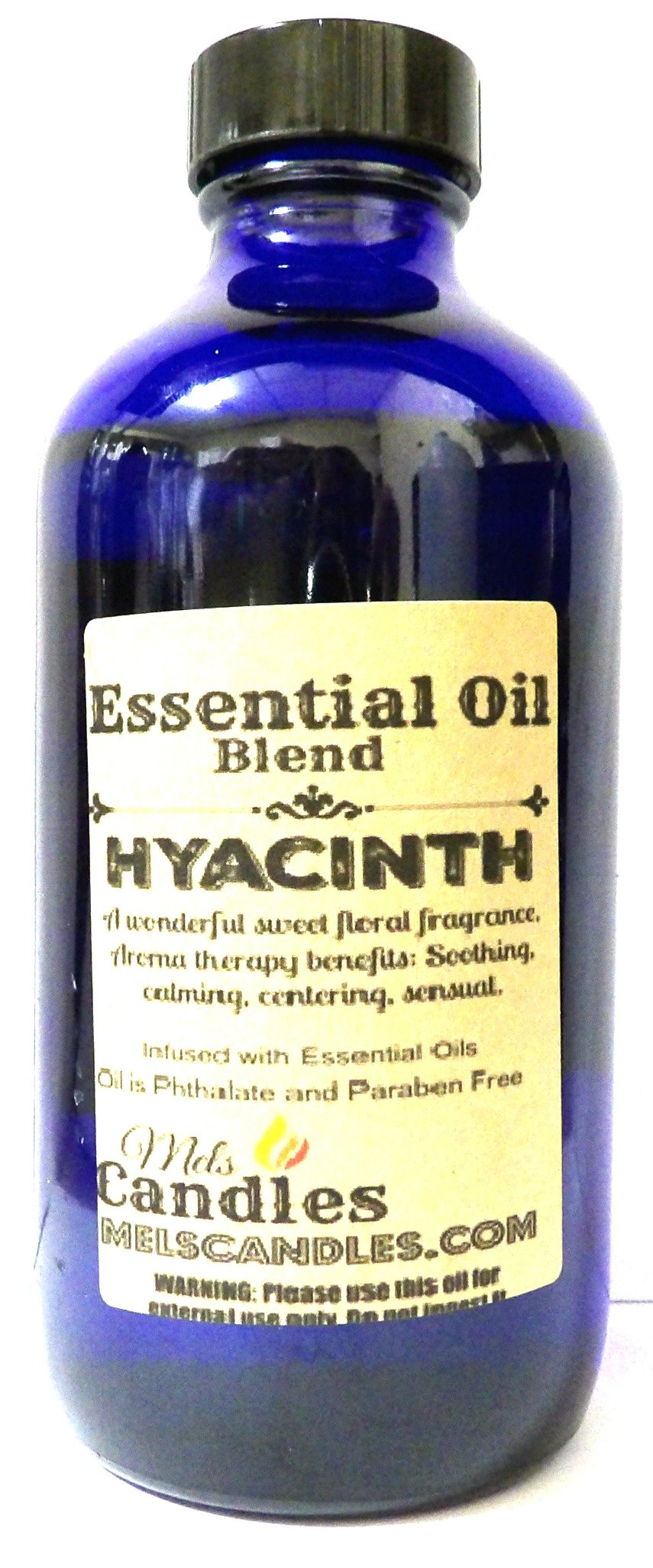 Hyacinth 8oz Cobalt Blue Glass Bottle of Premium Grade A Quality Fragrance Oil, Skin Safe Oil - Perfect for Candles, and All Bath and Body Products by Mels Candles & More