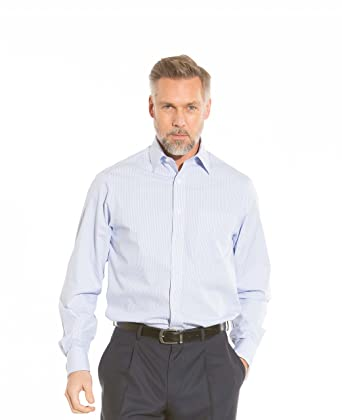 0bcdc686 Savile Row Men's Non Iron Blue Bengal Stripe Classic Fit Shirt:  Amazon.co.uk: Clothing